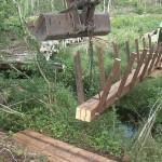 Bog bridge being installed