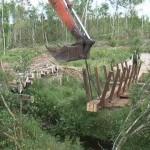 Bog Bridge being installed at Scohaboy Bog - Summer 2013